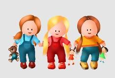 Милая девушка для книги детей детей и детей игрушек радостной, милых девушек, милых, детей ягнится, игрушки, игрушки, дети питомн иллюстрация вектора