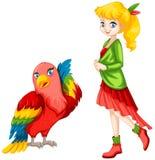 Милая девушка и красочный попугай иллюстрация штока