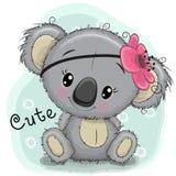 Милая девушка коалы на голубой предпосылке бесплатная иллюстрация
