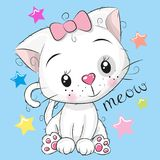 Милая девушка котенка на голубой предпосылке бесплатная иллюстрация