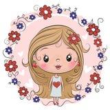 Милая девушка на предпосылке цветков иллюстрация штока