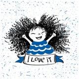 милая девушка немногая лента со словами я люблю его Иллюстрация моды для одежды детей бесплатная иллюстрация