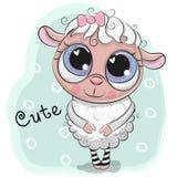 Милая девушка овец на голубой предпосылке иллюстрация вектора