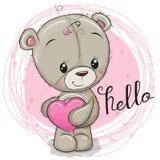 Милая девушка плюшевого медвежонка с сердцем иллюстрация штока