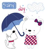 Милая девушка плюшевого мишки с зонтиком и щенком Печатание для детей, плакат детей, одежда детей, открытка Illu вектора иллюстрация вектора