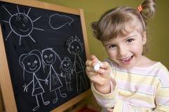 милая девушка семьи чертежа Стоковое фото RF