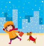 милая девушка собаки Стоковое Изображение