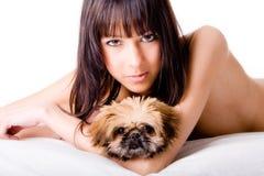 милая девушка собаки стоковые фотографии rf