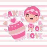 Милая девушка счастлива с иллюстрацией шаржа торта влюбленности для счастливого дизайна карточки валентинки Стоковые Изображения RF