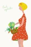 Милая девушка с год сбора винограда свежих овощей бесплатная иллюстрация