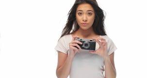 Милая девушка с ретро камерой Стоковые Изображения RF
