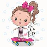 Милая девушка с розовым смычком иллюстрация вектора