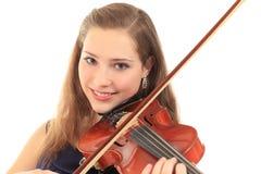 Милая девушка с скрипкой на белизне Стоковая Фотография RF