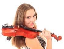 Милая девушка с скрипкой на белизне Стоковое Изображение RF