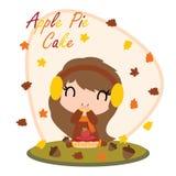 Милая девушка с тортом яблочного пирога за кленовыми листами vector иллюстрация шаржа для дизайна карточки дня ` s благодарения иллюстрация штока