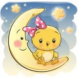 Милая девушка цыпленка сидит на луне иллюстрация вектора
