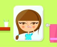 Милая девушка чистя ее зубы щеткой Стоковые Изображения RF