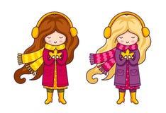 Милая девушка шаржа, держа кленовый лист в ее руках иллюстрация вектора