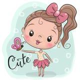Милая девушка шаржа с бабочкой иллюстрация вектора