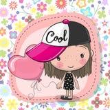 Милая девушка шаржа с воздушным шаром бесплатная иллюстрация
