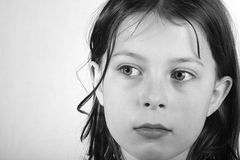 милая девушки головная задумчивая стоковая фотография