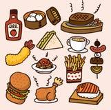 Милая еда шаржа Стоковое Изображение RF