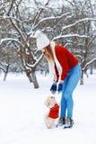 Милая женщина в белизне связала свитер идя щенок Pekingese Стоковые Изображения