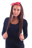 Милая женщина длиной прямо стоковое фото rf
