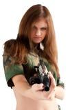 Милая женщина с пушкой стоковая фотография rf