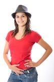 милая женщина шлема Стоковое Фото