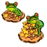 Милая зеленая древесная лягушка с красным языком украла пук звезд золота изолированных на белой предпосылке Конец-вверх шаржа век иллюстрация штока
