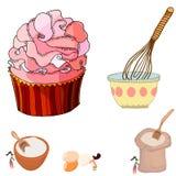 Милая иллюстрация большого пирожного и женщин смешивая ингредиенты бесплатная иллюстрация