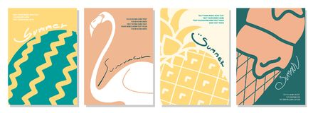 Милая иллюстрация вектора арбуза, фламинго, ананаса и Стоковые Изображения RF
