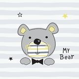 Милая иллюстрация вектора плюшевого медвежонка иллюстрация штока