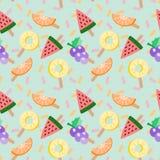 Милая иллюстрация вектора тропических плодоовощей мороженого Картина тропических плодоовощей безшовная Лето и концепция свежести Стоковые Фотографии RF