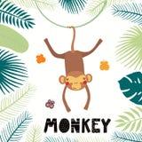 Милая иллюстрация обезьяны бесплатная иллюстрация