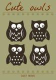 Милая иллюстрация силуэта сыча Притяжка руки птиц ночи Стоковые Изображения