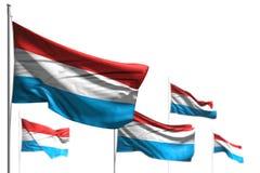Милая иллюстрация флага 3d Дня независимости - 5 флагов Люксембурга волна изолированная на бело- фото с мягким фокусом бесплатная иллюстрация