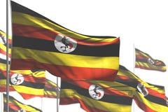 Милая иллюстрация флага 3d Дня Труда - много флагов Уганды развевать изолированных на бело- изображении с выборочным фокусом иллюстрация вектора