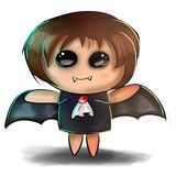 милая иллюстрация halloween Маленький ребенок в пугающем вампире, летучей мыши, костюме Дракула с крылами и клыках иллюстрация штока