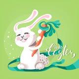 Милая и смешная счастливая поздравительная открытка пасхи Стоковое Фото