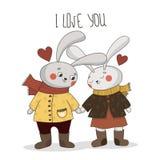 Милая карта вектора я тебя люблю! Счастливый день Святого Валентина! иллюстрация штока