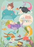 Милая карта мультфильма с маленькими русалками Под морем иллюстрация вектора