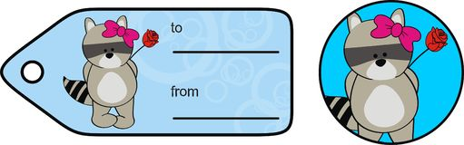 Милая карта подарка Валентайн мультфильма kawaii девушки енота младенца стоковое фото rf