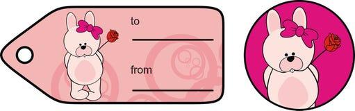 Милая карта подарка Валентайн мультфильма kawaii девушки зайчика младенца стоковое изображение rf