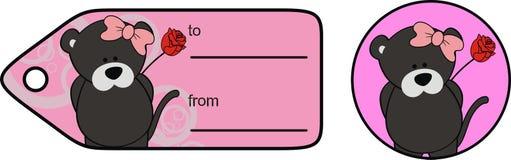 Милая карта подарка Валентайн мультфильма kawaii девушки пантеры младенца стоковое фото rf