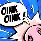 Милая карта с носом свиньи мультфильма, звездами и облаком текста на голубой предпосылке Стиль комиксов вектор иллюстрация вектора