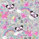 Милая картина единорога панды на предпосылке glitte Красочная ультрамодная безшовная картина Чертеж иллюстрации моды в современно иллюстрация штока