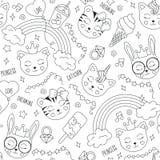 Милая картина животных на белой предпосылке Фасонируйте чертеж иллюстрации в современном стиле для одежд тигр, кот, зайчик Чернот иллюстрация вектора