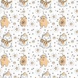 Милая картина зимы полярного медведя безшовная иллюстрация вектора